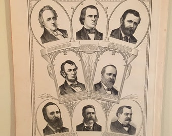 7d44eaa08f16 Vintage Presidential Portraits (1885 Original) // American History Art //  US President Collectible // Abraham Lincoln // Vintage Wall Art