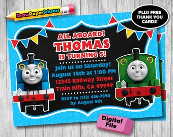 Thomas The Train Birthday Invitation Digital Download