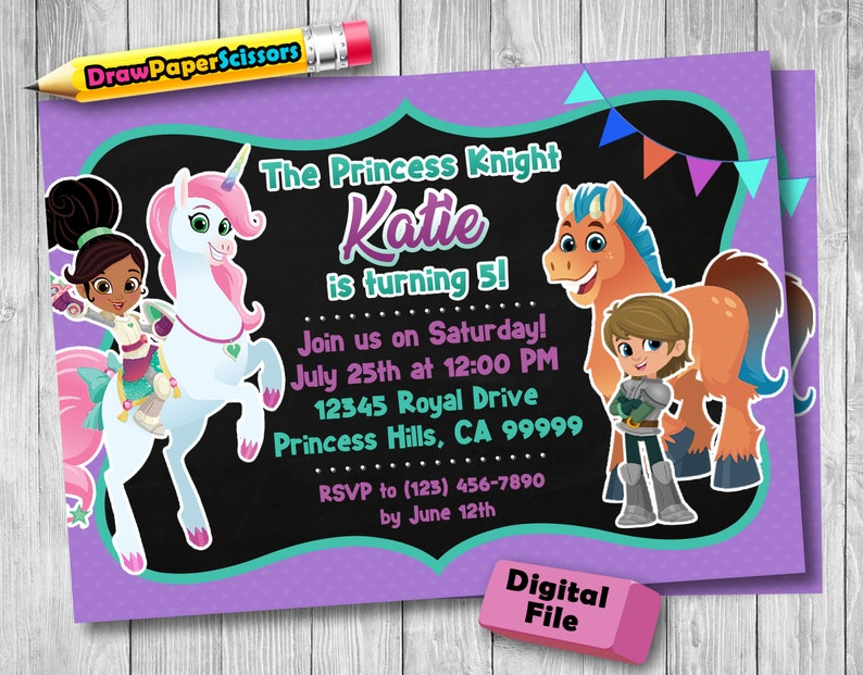Nella The Princess Knight Birthday Invitation Digital Download
