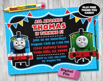 Thomas the Train Birthday Invitation (Digital Download) - Thomas the Train Invitation, Thomas and Friends Invitation, Thomas the Train