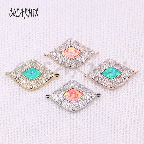 10 pièces géométriques connecteur, perles d'oeil de Pierre d'Opale traitement pour bijoux, fabrication de bijoux trouver gros accessoires 4275