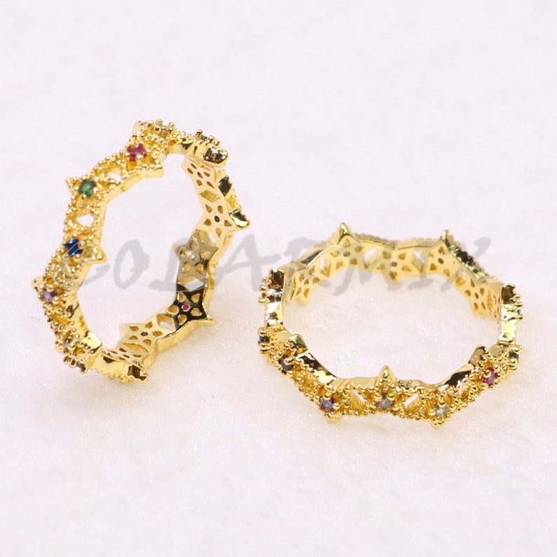 rainbow rings  for women 5333 4-8 pieces rainbow zircon rings,Nodule ring,gold plated rings\uff0cmix colors rings for women