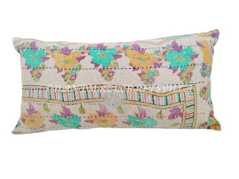 Indian Bohemian Patchwork Kantha Cushion Cover Size 18x36 inch Vintage Kantha Handmade Pillow Cover