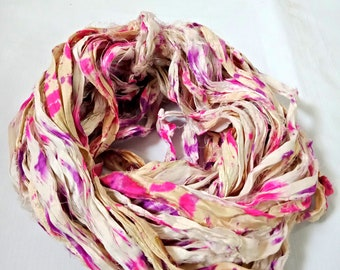 Recycled Sari Silk Ribbons Hank - Spray Painted Crochet Ribbons, Knitting, Sari Silk Ribbons 100 Grams- 1 Skeins
