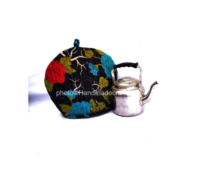 Vintage Kantha Tea Cozy Recycled Cotton Tea Cozy Hand Stitched Tea Party Pot Cover Hot Coffee Cover Handamde Kitchen D\u00e9cor Tea Cozy Cover