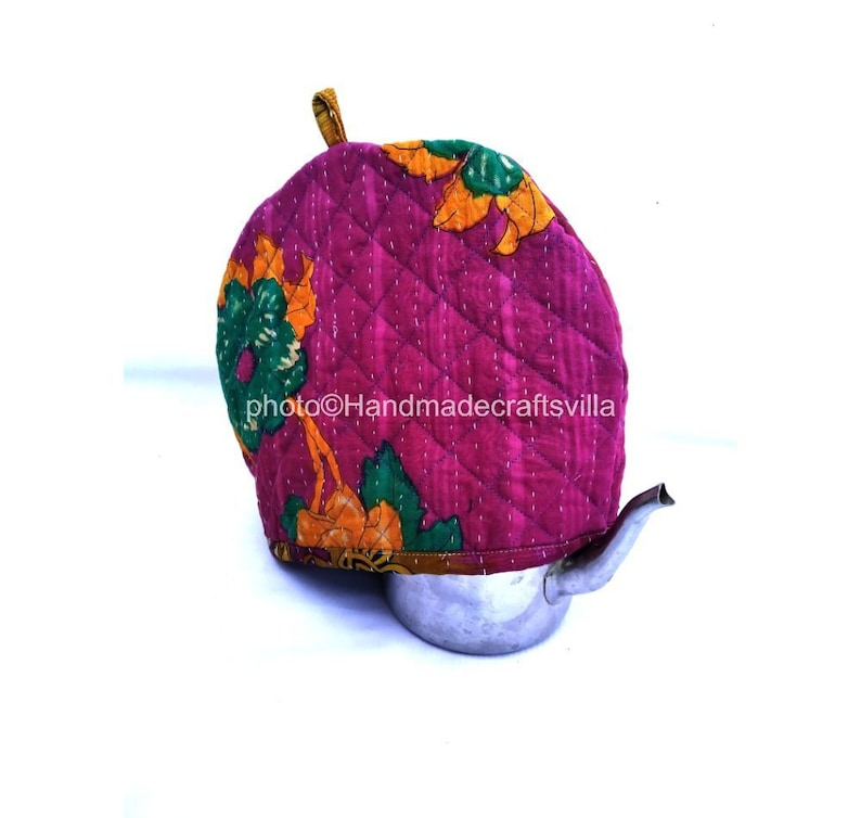 Styled Floral Vintage Kantha Print Tea Cozy Cover Handmade Tea Cozy Cotton Tea Kettle Kitchen Decor Hand Stitched Pot Cover Hot Coffee Cover