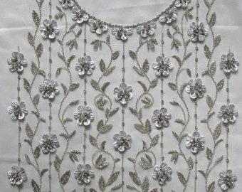 beaded applique//silver applique//3 d floral applique//applique with rhinestones//gold beaded applique//