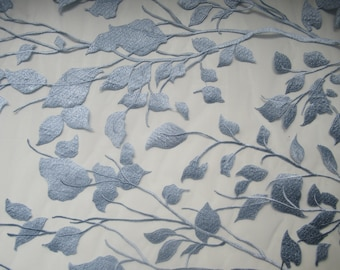 branched fabric lace on mesh //for dress//for gowns//for applique or as a fabric//with embroidered leaves and branches//light blue//fashion