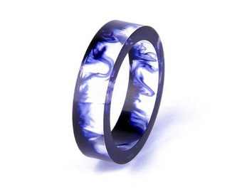 Marbled Blue Statement Resin Ring
