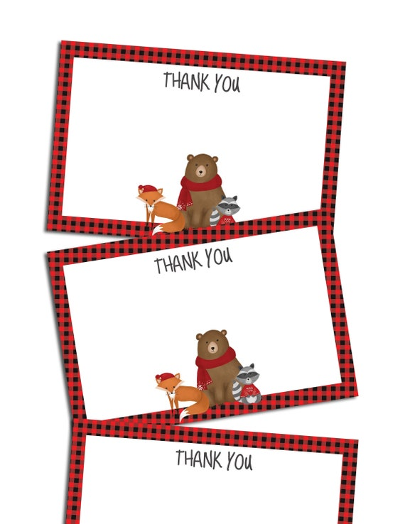 picture regarding Thank You Notes Printable called Lumberjack thank your self notes printable, woodland thank oneself paper sheet quick obtain, xmas thank yourself notes