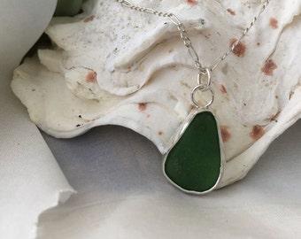 Dark Green Sea Glass and Silver Pendant