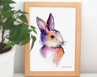 "Art Print-""Bunny"", watercolour, traditional, decoration, print"