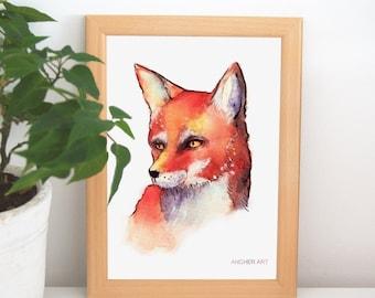 "Art Print-""Fox"", watercolour, traditional, fox, decoration, print"