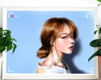 "Art print-""low battery"", digital art, Asian, model, decoration, print"
