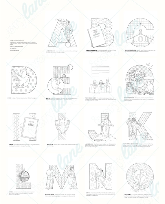 Lds Alphabet Coloring Pages Printable Pdf Etsy