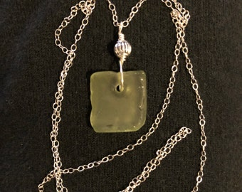 Light green SeaGlass necklace