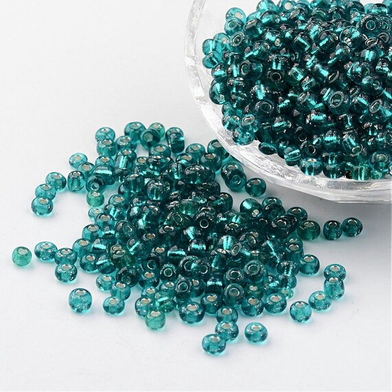 Turquoise Transparent 50g glass seed beads approx 4mm size 6//0