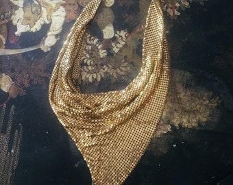Vintage 70s Whiting & Davis Gold Mesh Neckerchief/Bandana/Triangle Necklace