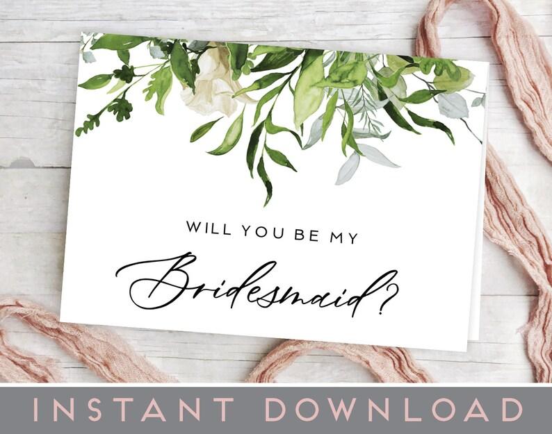 Will You Be My Bridesmaid Card Printable Bridesmaid Card Leaves Greenery Will You Be My Bridesmaid Template Pdf Bridesmaid Invitation