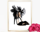 Fashion Print, Shoes Print, Art Print, Wall Art, Chanel Print, Heels Print, Watercolor Art, Digital Art Print, Black and White Print