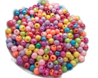 100 Multi AB coloured Acrylic Bubblegum Beads 6mm