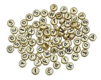 100 x Antique Gold Tone beads round letters/alphabet A - Z