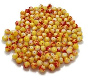 50 Yellow Mottled/Drawbench Round Glass Beads 8mm