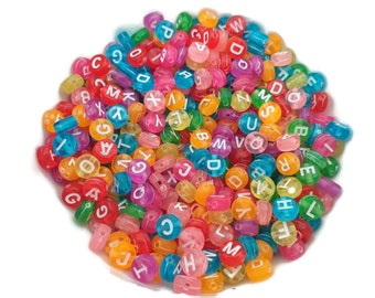 100 Multi coloured acrylic spacer flat round letter beads 7mm