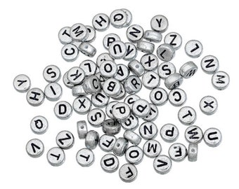 100 x Silver Gray Mixed beads round letters/alphabet A - Z