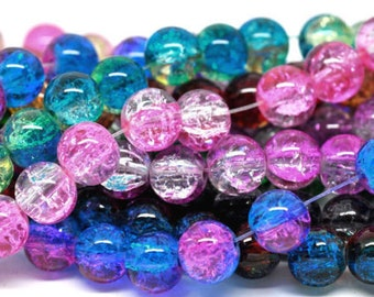 100 Mixed Dual Colour Crackle Glass Beads 8mm Jewellery Making Crafts - L12234
