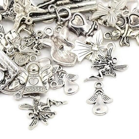 BULK 50 Fairy charms antique silver tone FB47