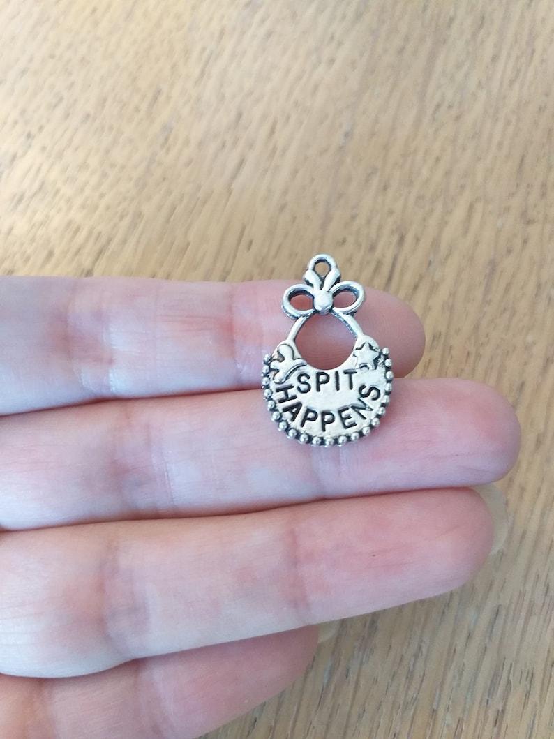 5 Antique silver tone baby spit happens bib charms  L41
