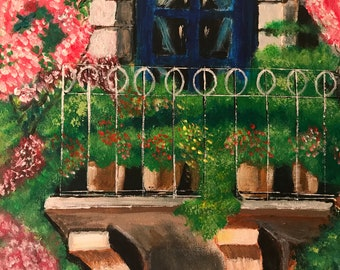 Balcony with Bougainvillea - Freehand Acrylic Painting