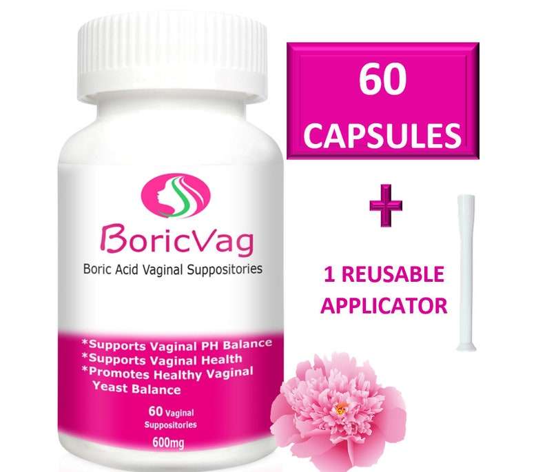 60 Boric Acid Suppository Capsules (600 mg)   Applicator Included   For  Vaginal Health
