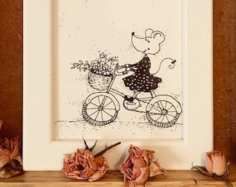 Hand drawn Illustration, Framed prints - Little mouse an a bike