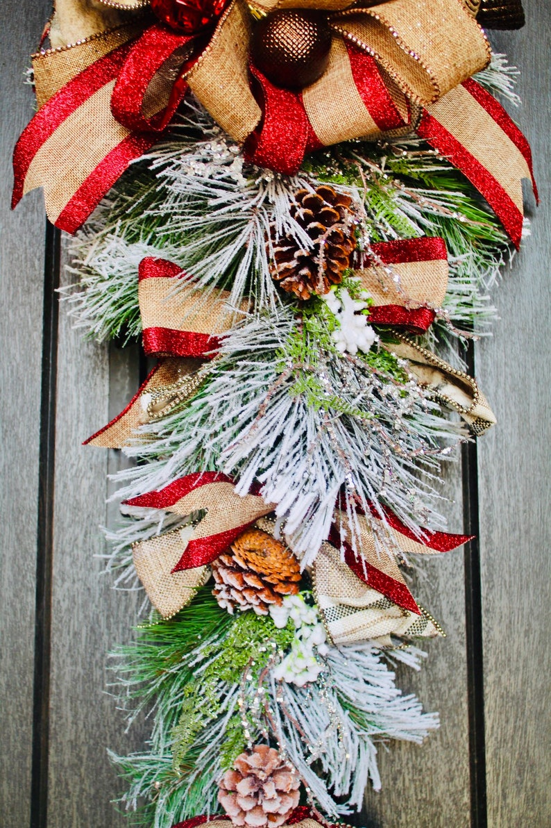 red Christmas decorations Christmas decor Christmas Wreath Christmas door swag red door swag frosted door swag,