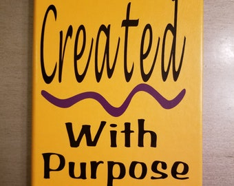 Created With Purpose, Faith Inspired Quote, Personalize Journal Notebook Dotted Grid A5