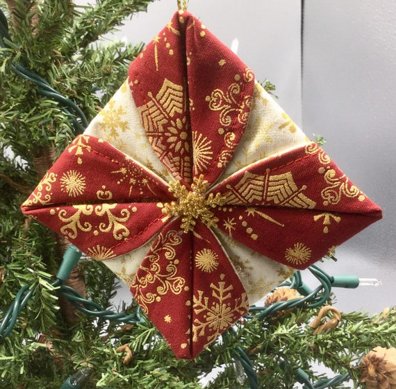 Folded Fabric Christmas Ornaments