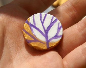 Moon And Tree Button