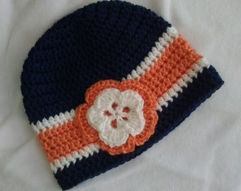 Crocheted Baby Girl Beanie,3-6 month,navy,peach,white,