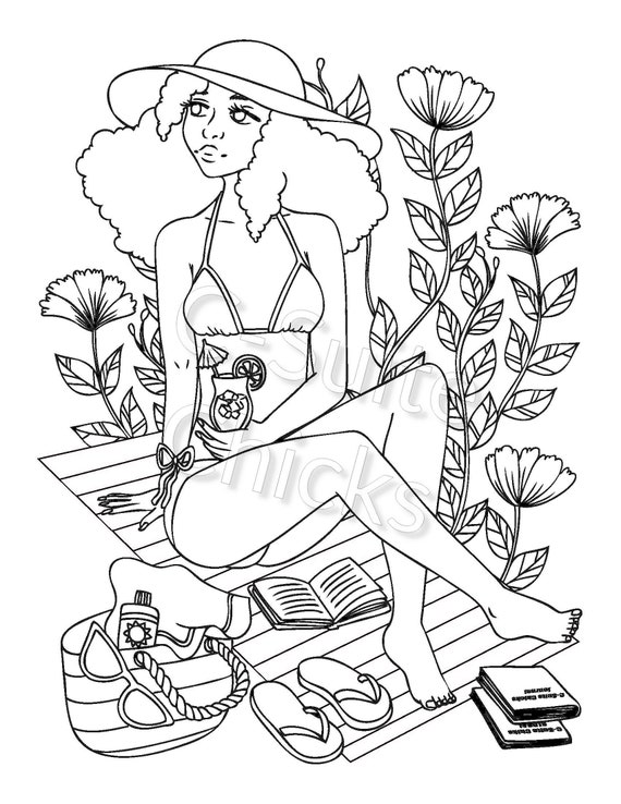 Adult Coloring Page Lady Flowers Digital Coloring page Printable ... | 738x570