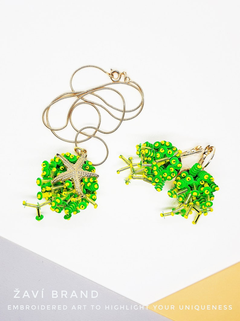 traveler accessory Green faux corals with starfish jewelry set embroidered corals earrings and pendant green peace actyvist seaside lover