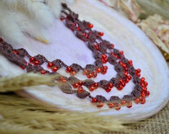 Triple strand crochet beaded necklace Rustic Three Strand necklace Multi strand Gift for her Brown natural necklace with red glass beads
