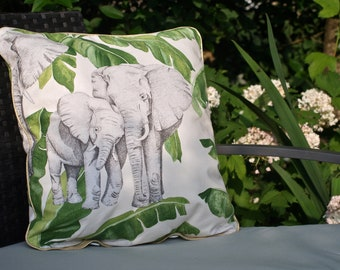 Ivory Elephant Cushion cover 40 x 40 Green Gold