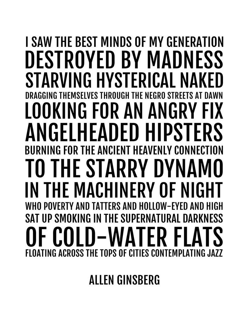 Kunst Allen Ginsberg 'Howl' quote Poster The Best Minds of My.. beat generation Antiquitäten & Kunst