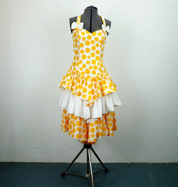 1980s vera mont PARTY DRESS polka dots size S polk