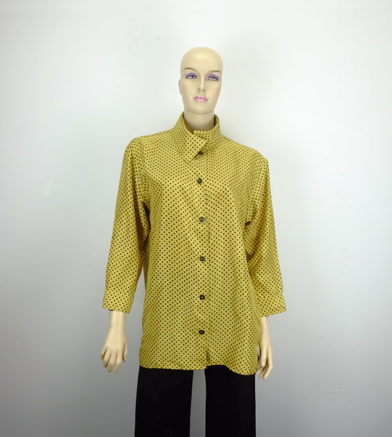 80s vintage silk BLOUSE oversize yellow and black