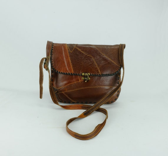 1970s 80s SHOULDER BAG patchwork leather boho hipp