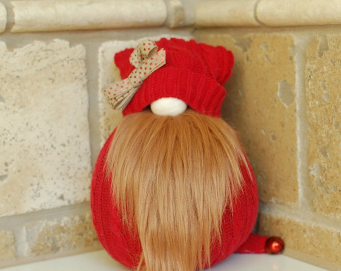Red Gnome with Polka Dot Bow - Gaines
