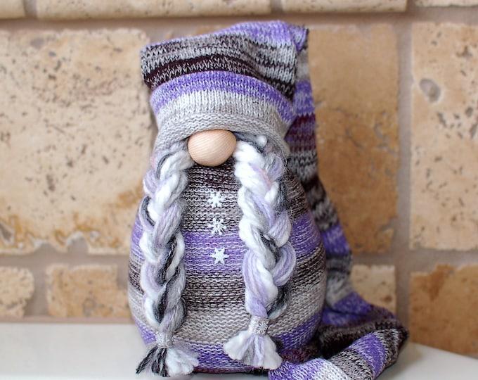 Zara the Purple Striped Snowflake Gnome